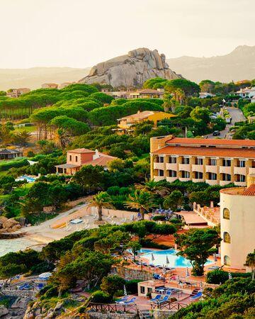 Landscape of Baja Sardinia luxury resort in Costa Smeralda reflex