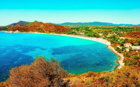Villasimius Beach at Mediterranean Sea in Sardinia Island Italy reflex