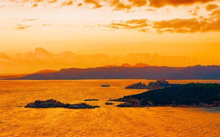 Scenery of Baja Sardinia luxury resort Costa Smeralda reflex Standard-Bild