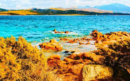Capriccioli Beach and Mediterranean Sea in Sardinia Italy reflex Standard-Bild