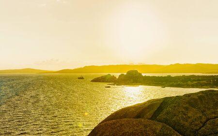 Sunrise at Capo Ferro Costa Smeralda Mediterranean sea reflex