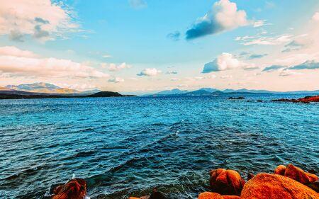 Capriccioli Beach in Mediterranean Sea Sardinia in Italy reflex Standard-Bild