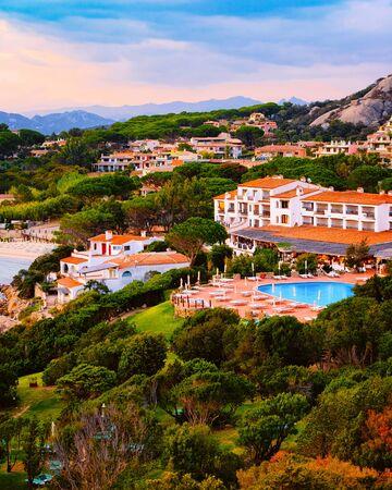 Landscape in Baja Sardinia luxury resort Costa Smeralda reflex