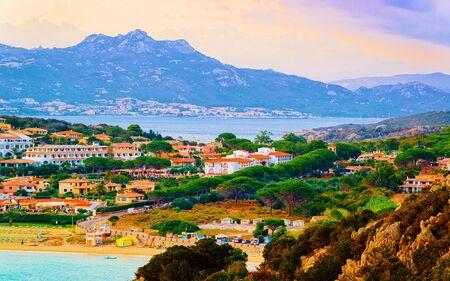 Landscape of Baja Sardinia luxury resort Costa Smeralda reflex