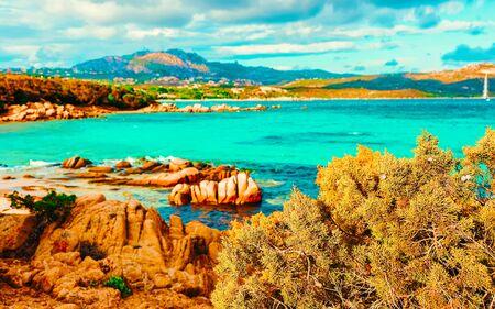 Capriccioli Beach at Mediterranean Sea in Sardinia Italy reflex