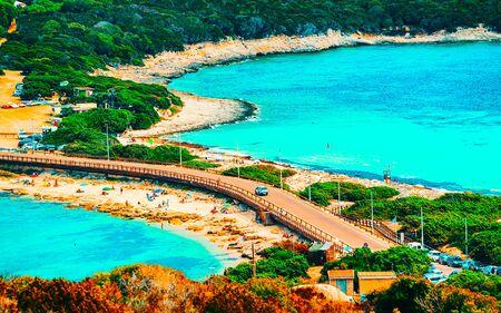 Beach at Capo Testa at Santa Teresa Gallura Sardinia Italy reflex