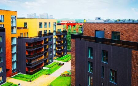Modern architectural residential building quarter with reflex Imagens