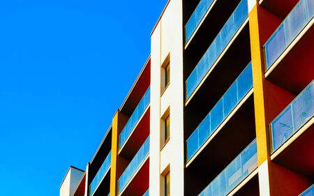 Residential apartment house facade with empty place for copy space reflex