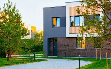 Apartment residential townhouse facade architecture and outdoor facilities reflex