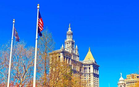 Manhattan Municipal Building in Lower Manhattan reflex