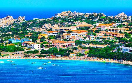 Landscape with beach on Rocky coast of Capo Testa in Santa Teresa Gallura at the Mediterranean Sea on Sardinia Island in Summer Italy. Scenery of Cagliari province. Mixed media. Stock fotó
