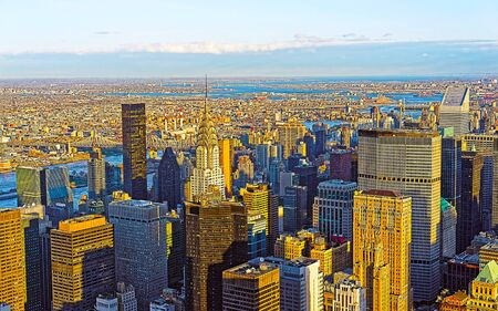 Aerial view of Midtown Manhattan and Long Island City reflex