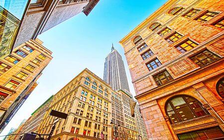 Bottom up view to Skyscrapers of Manhattan reflex
