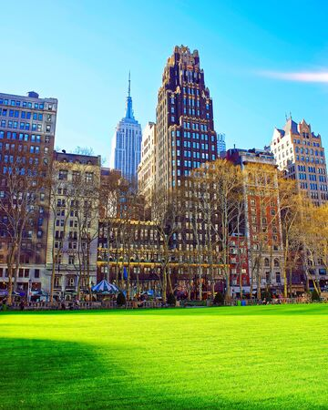Skyscrapers and Green Lawn in Bryant Park reflex
