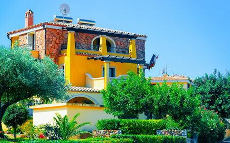 Rural landscape. Cottage in Beautiful Carbonia-Iglesias. Panorama in South Sardinia island of Italy. Scenery of Sardegna in summer. Cagliari province. Mixed media.