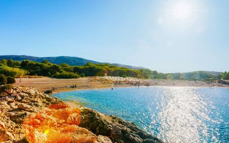Landscape of Chia Beach and Blue Waters of the Mediterranean Sea in Province of Cagliari in South Sardinia in Italy. Scenery and nature. Mixed media.