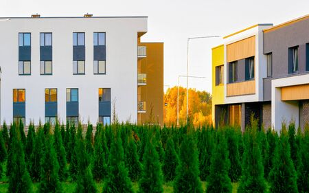 Apartment in residential building exterior. Housing structure at blue modern house of Europe. Rental home in city district on summer. Architecture for business property investment, Vilnius, Lithuania. Stok Fotoğraf