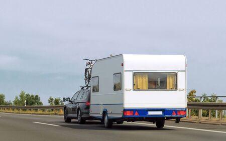 Caravan on road of Switzerland
