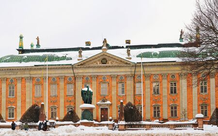 House of Nobility in winter Stockholm. Stockholm is the capital of Sweden and the most populous city in the Nordic region. Mixed media. Stock Photo