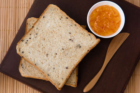 wheat toast: whole wheat bread with marmalade jam Stock Photo