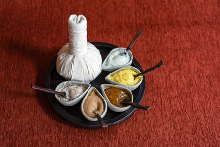 herbal massage ball: thai herbal massage ball with variety of body scrub