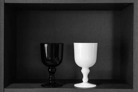 ceremic: black and white porcelain glass showed in cabinet