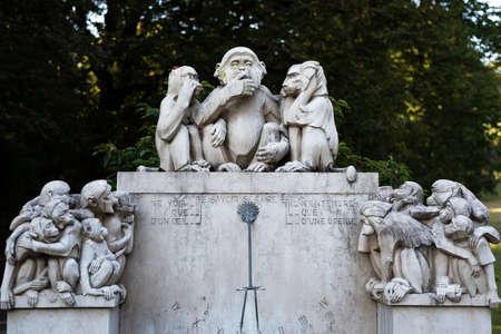 three monkey monument in Denantou Park, Lausanne, Switzerland Stock Photo