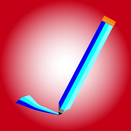 Design drawing pen on red background, Vector illustration. Иллюстрация
