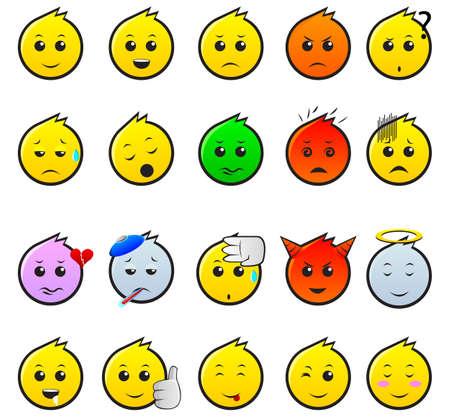 variation: 20 Expression emoticon with variation expression Illustration
