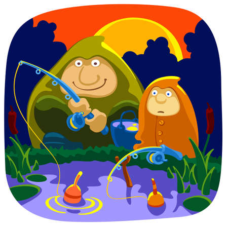 Father and son on a morning  fishing Vector
