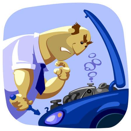 ignorancia: el hombre no sabe c�mo arreglar un coche Vectores