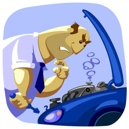 know how: man not know how to fix a car