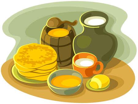 stillife: Stillife with pancakes, milk, butter and honey