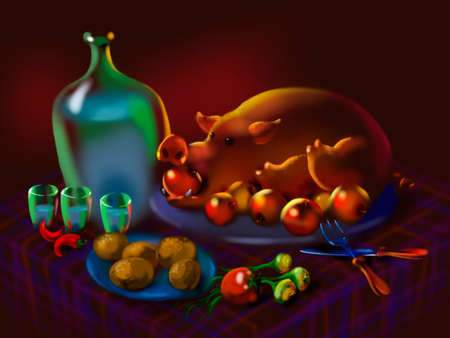 lard: festive meal with a big roasted wild boar and moonshine Stock Photo