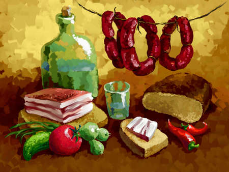 lard: still life with bacon, bread, sausage, vegetables  and alcohol