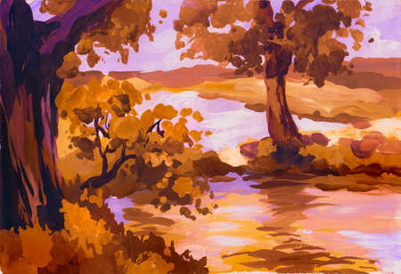 autumn landscape with river, acrylic painting sketch photo
