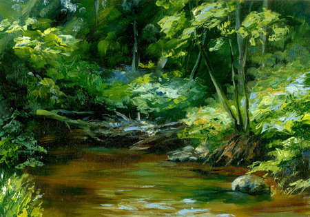 landscape painting: rivulet in thick forest, oil painting sketch
