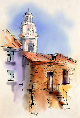 City Hall in the old town, watercolor sketch Stock Photo