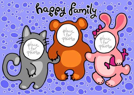 bunny xmas: happy family in carnival costumes  kitty, bear, bunny