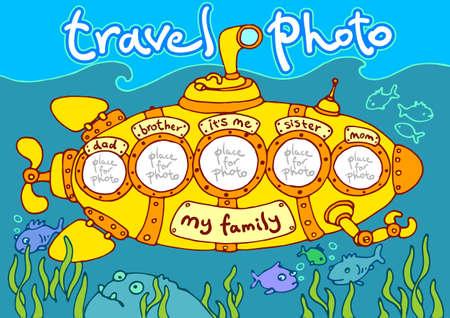 yellow adventure: travel photo in submarine, photo frame – my family Illustration