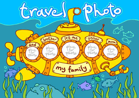 yellow adventure: travel photo in submarine, photo frame – my family Illustration