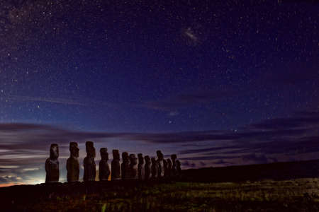 easter island: Night and Day at Easter Island Stock Photo
