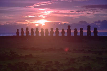 easter island: Easter Island Sunrise , Tongariki Stock Photo