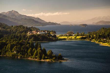 Landscape of the Nahuel Huapi  lake with Hotel Llao Llao close to Barilocha City in Argentina, Patagonia.