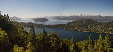 Panoramic of Nahuel Huapi lake in Bariloche, Argentina. The Andes in Patagonia whit green forest