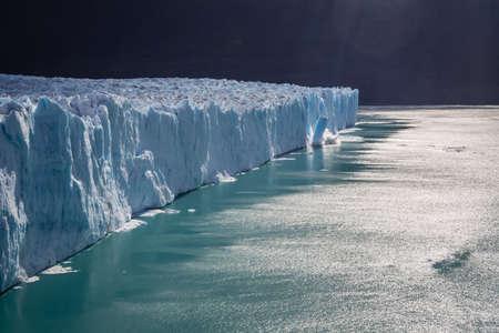Perito Moreno Glacier breaking down in the Glaciers National Park in south Argentina. Patagonia, making icebergs