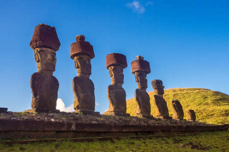 Ahu Nau Nau in Anakena beach. Easter Island in Chile. Rapa Nui