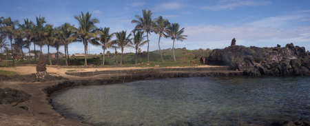 Little beach in Hanga Roa,  Easter Island, Chile. Detailof the palms and blue water Stock Photo