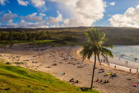 Anakena beach in Easter island in a sunny day Stock Photo