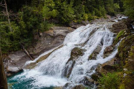 Waterfalls in Ordesa and monte perdido national park in Pyrinees range in Spain, Huesca, View